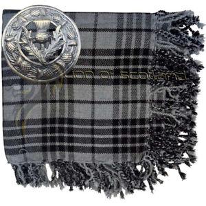 Highland-Kilt-Fly-Plaid-Grey-Watch-Tartan-48-034-x-48-034-Thistle-Brooch-Antique-3-034