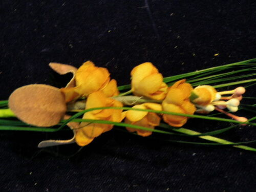 Vintage Millinery Flower + Leaf Amber Rust Green Grass Trim for Hat or Hair K28