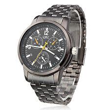 Men black steel wrist watch