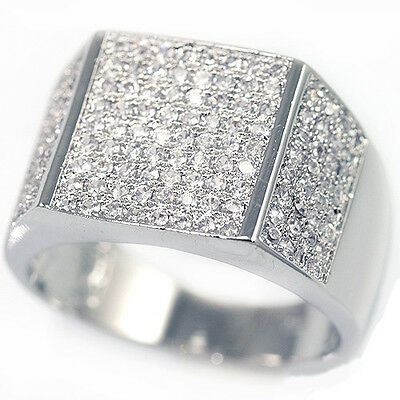 New Mens 14K White Gold Fn Lab Diamond Engagement Pinky Silver Stainless Ring