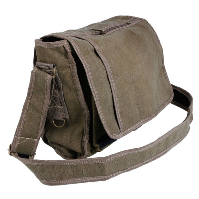 Men Casual Messenger Bag Tote Shoulder School Bookbag Travel Bag Canvas Khaki