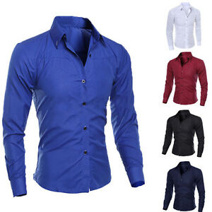 PT-Cn-Eg-Uomo-T-Shirt-Manica-Lunga-Business-Lavoro-Formale-Casuale-Camici