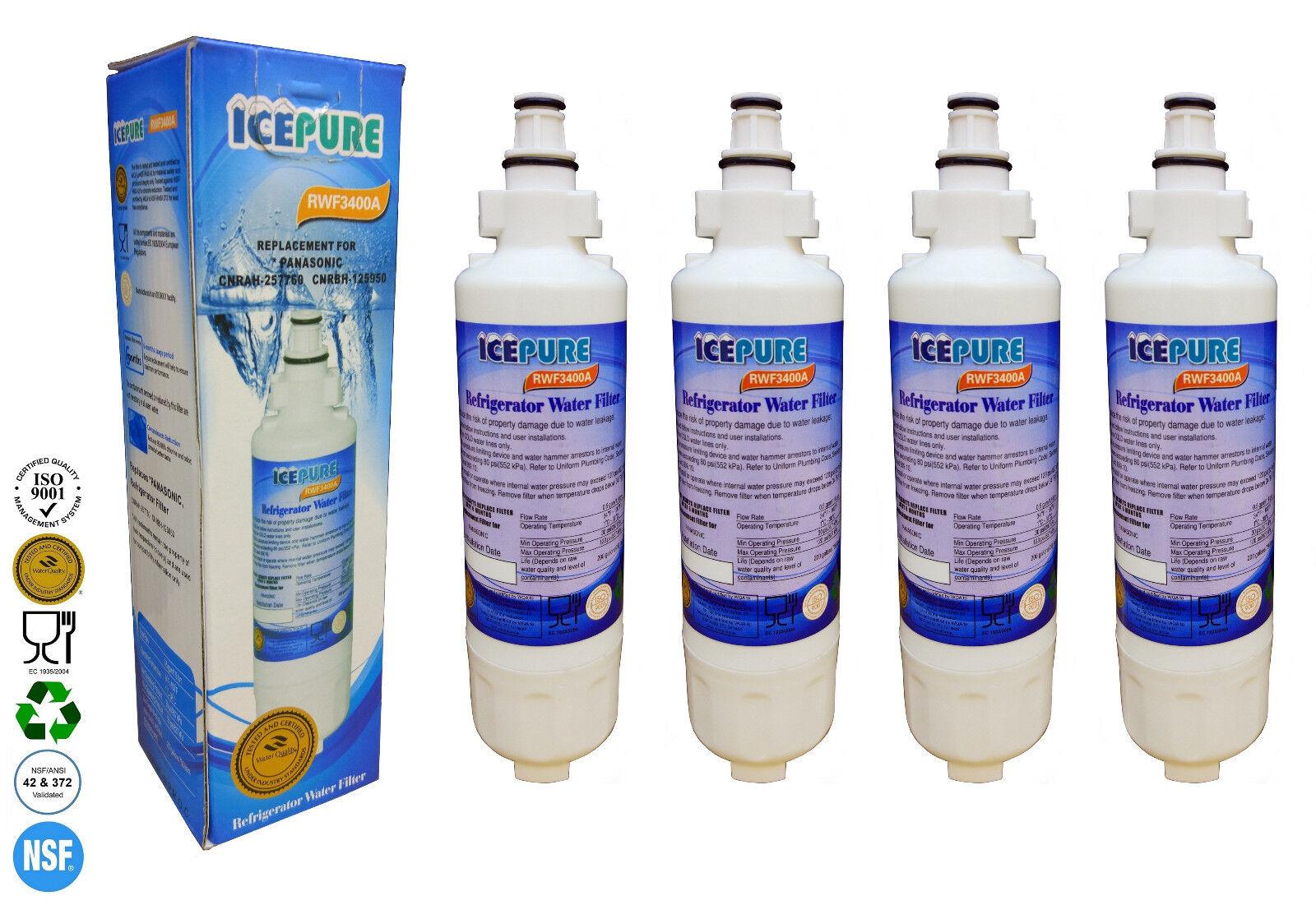 4 x Icepure rwf3400a Compatible pour PANASONIC CNRAH-257760 FILTRE à EAU