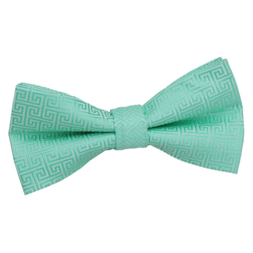 DQT Woven Geometric Greek Key Formal Wedding Classic Mens Boys Pre-Tied Bow Tie