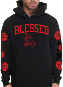 first rate 477eb bec39 Details about Men's Blessed Hoodie With Red Roses On Sleeve Designer  Pullover Sweatshirt Drake