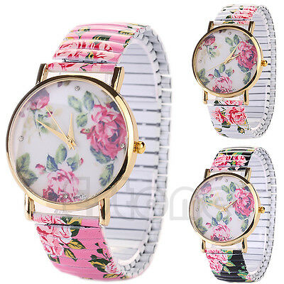 Women Ladies Elastic Strap Band Flower Print Floral Bracelet Quartz Wrist Watch