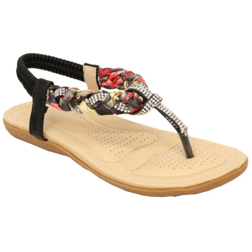 Ladies Flat Slip On Sandals Womens Toe Post Sling Back Shoes Diamante Party New