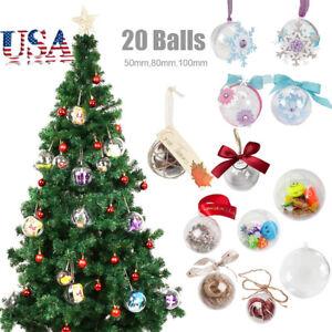 Details About 20pcs Diy Clear Balls Baubles Sphere Fillable Plastic Christmas Tree Ornaments