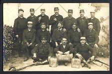 cpa CARTE PHOTO MILITAIRE SOLDATS 3 sur Casquette GVC Classe 1891 Garde des Voie