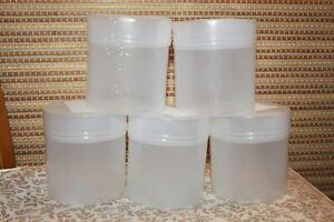10 S Blanc Mat Cylindre En Plastique Boîte De Rangement Container Bocal Avec Couvercle 500 Ml-afficher Le Titre D'origine