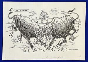 1980-039-s-NFL-vs-USFL-034-The-Lockhorns-034-16x22-Original-Cartoon-Art-by-Eddie-Germano