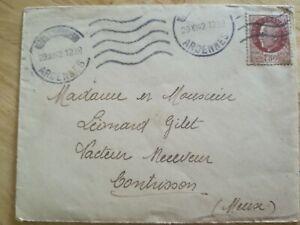 Enveloppe-1930-Ardennes-Destinee-Contrisson-timbre-Petain