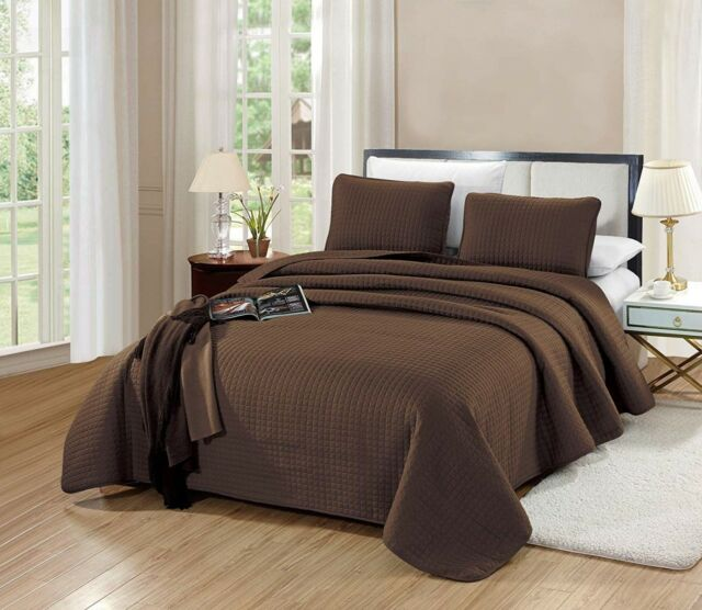 3PC KING Size Florence Quilt Solid Chocolate Brown Bedspread Microfiber Coverlet