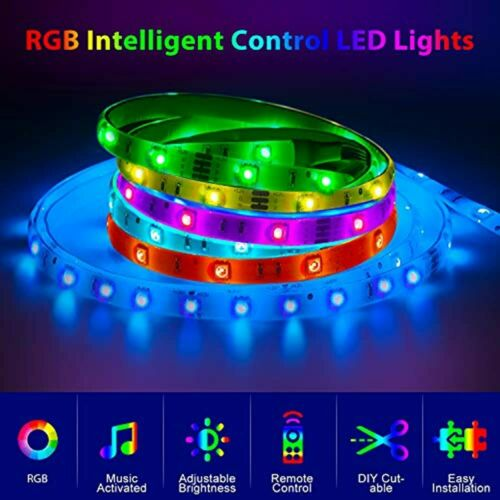 LED Strip Lights 32.8ft SMD5050 300LEDs Waterproof RGB Music Sync Color With TV