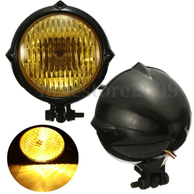 Black 4'' Motorcycle H4 35W Headlight Lamp For Harley Bobber Chopper Sportster