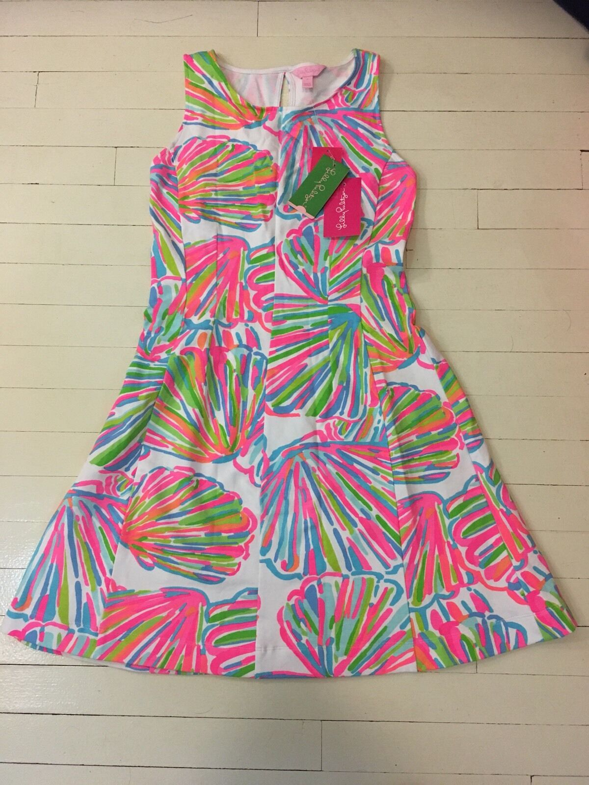 NEW Lilly Pulitzer Felicity Fit & Flare Dress Sm SALE Resort Weiß Shellabrate