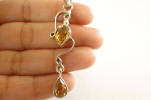 Golden-Yellow-Citrine-2-Stone-925-Sterling-Silver-Drop-Pendant