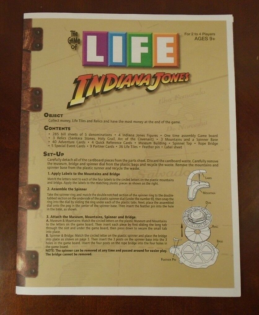 The Game Of Life Indiana Jones Edition Replacement