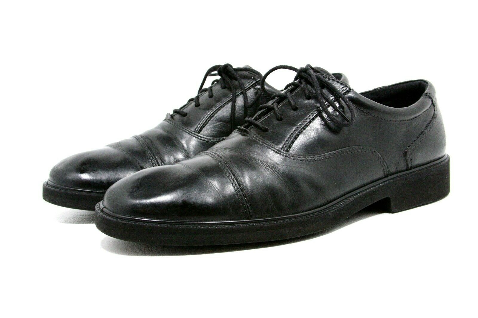 Mens Ecco Dress shoes Size 11 - 11.5 Black Leather Cap Toe Casual Comfort System
