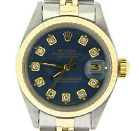 Rolex Datejust Ladies Two-Tone 14K Yellow Gold & Steel Watch Blue Diamond 6917