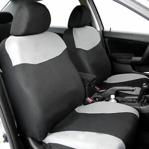 Gray Black Front Bucket Car Seat Covers for Auto Sedan SUV Van Coupe