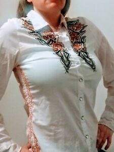 Roar-Womens-LARGE-White-Western-Rodeo-Button-Down-crystal-Snap-Long-Sleeve-Shirt