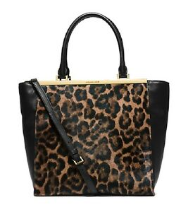 33c5415f791c NEW MICHAEL KORS LANA BLACK LEATHER+LEOPARD PRINT CALF HAIR LARGE ...