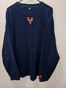 Cavaliers Pullover UVA Virginia STARTER NAVY BLUE Long Sleeve Poly Fleece Medium