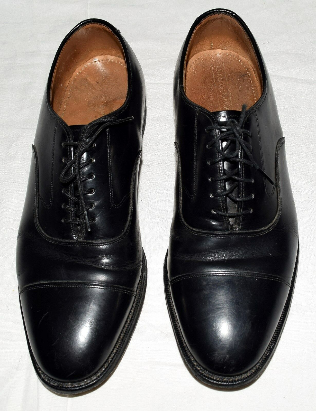 Johnston & Murphy Optima Black Leather Cap Toes Mens Oxford shoes Size 9.5 M USA