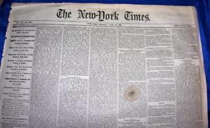 ANTIQUE-NEWSPAPER-NY-TIMES-JUNE-25-1866-Florida-Slavery-Free-Blacks-7-Wk-War