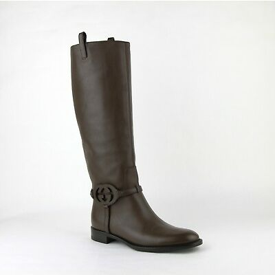 $1440 Gucci Brown Leather Knee Boots with Interlocking G 338541 2140