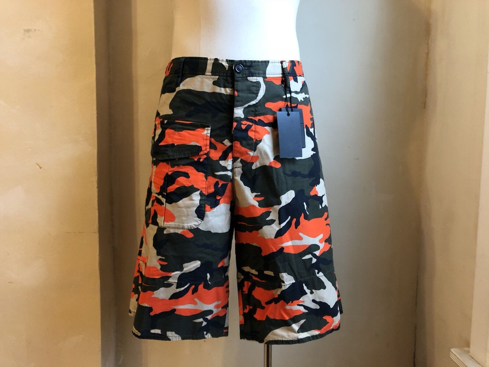 DSQUARED² COOL MILITAR GREEN NEON orange CAMOUFLAGE BERMUDA SHORTS S 50 34 HOT