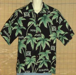 Reyn-Spooner-Sports-Hawaiian-Shirt-Black-Green-Palm-Trees-Hawaii-Size-Large