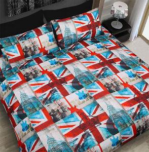 UK-Flag-60s-Union-Jack-British-Music-Crown-Double-King-Bed-Quilt-Duvet-Cover-Set