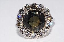 $25,950 10.57Ct AGL Cert Natural No Heat Brown-Green Sapphire & Diamond Ring