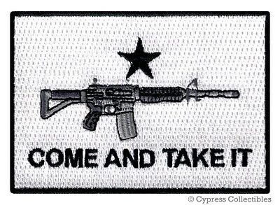 COME TAKE IT FLAG GUN PATCH iron-on embroidered RIFLE SUPPORT 2nd AMENDMENT