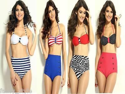 Striped or Polka Dot Pin Up Red Blue White Halter High Waisted Bikini Swimwear