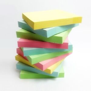 "1200 PASTEL Removable Sticky Post Notes 76mm x 76mm 3""x 3"" (12 packs of 100)"