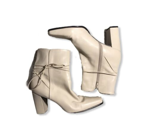 Enzo Angiolini White Leather Gogo Boots