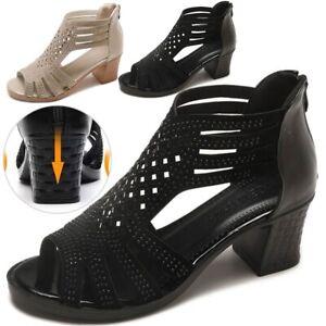 Women-Mid-Low-Block-Heels-Hollow-Open-Toe-Sandals-Ankle-Strap-Boots-Pumps-Shoes
