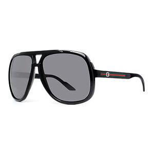 Gucci GG 1622 S D28 R6 Brilhante Preto Cinza Óculos De Sol Aviador ... da5aeb97f9