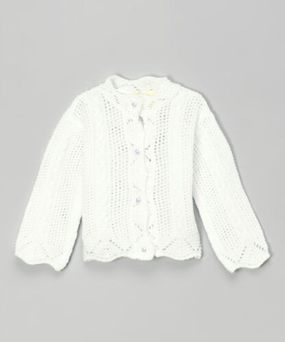 NEW Strictly Kids Preemie Baby Girl White Crochet Cardigan Sweater Easter