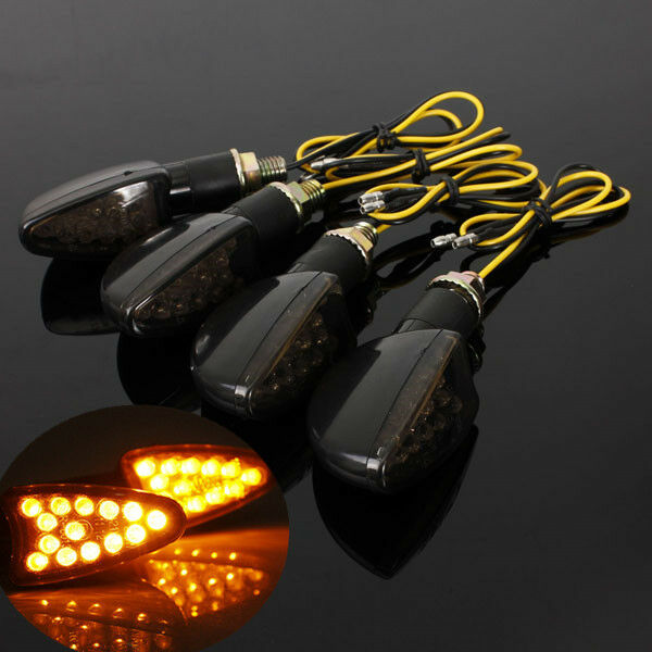 4x LED UNIVERSAL MOTORCYCLE MOTORBIKE TURN SIGNAL INDICATORS LIGHT BLINKER E11