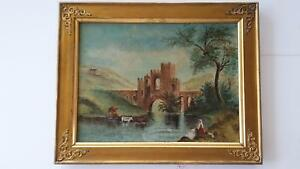 19th-Century-Oil-on-Canvas-painting-13-034-x1-7-034-Signed-BE