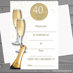 Image Is Loading A5 Champagne 40th 50th 60th 70th 80th 90th