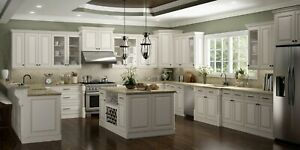 Details about Fully Assembled - All Wood 10X10 Casselberry Antique White  Kitchen Cabinets