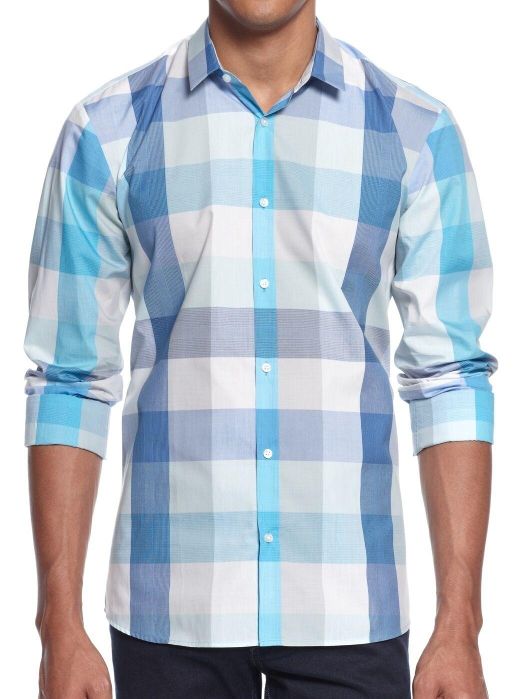 NEW HUGO (Red Label) by Hugo Boss Slim Fit Lightweight Plaid Sport Shirt Size L
