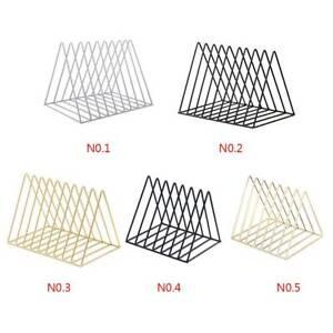 Details about Triangular Desktop Book Rack Modern Metal Wire Bookshelf  Simple Magazine Holder