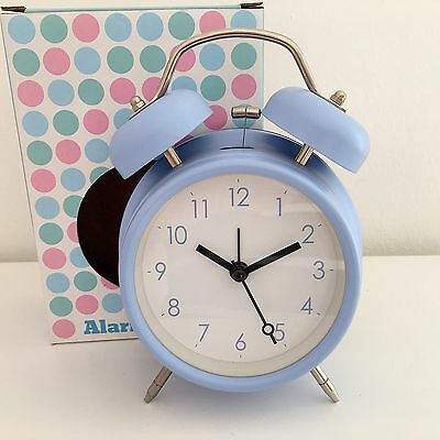 RETRO DOUBLE BELL ALARM CLOCK METAL BABY BLUE BEDSIDE WAKE UP ALARM HAMMER BEL