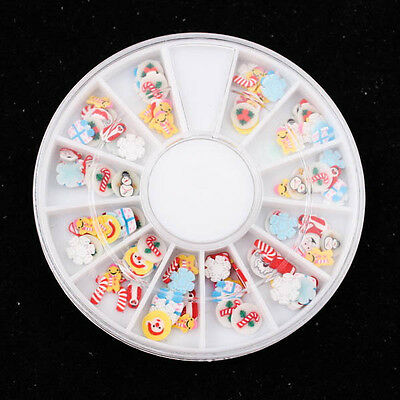120pcs x 3D clay Fimo Christmas Snow Kid slices Wheel Nail Art DIY Craft A0587-4